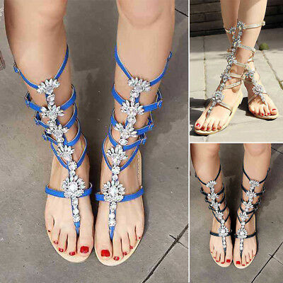 59af755edb6 Roman Women s Rhinestone Gladiator Sandals Strap Flat Flip Flop Beach Shoes  Blue
