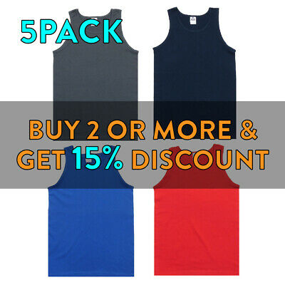 5 Pack Aaa Alstyle 1307 Mens Plain Tank Top Casual Sleeveless Muscle Tee Gym Tee
