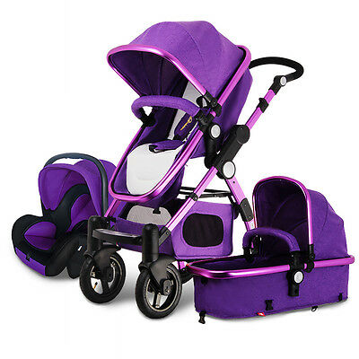 Luxury Baby Stroller 3 In 1 High Landscape Pram Foldable Pushchair