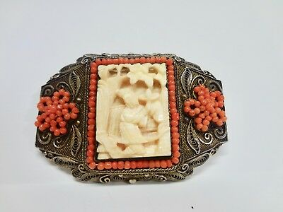 Large Antique Carved Vintage Chinese Export brooch pin Silver