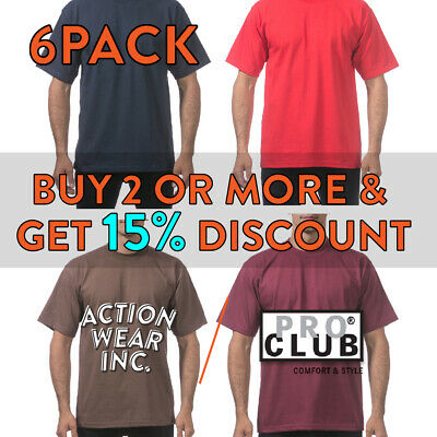 bd00c55f4 6 Pack Proclub Big And Tall Mens Short Sleeve T Shirt Shirts Heavyweight  Hip Hop