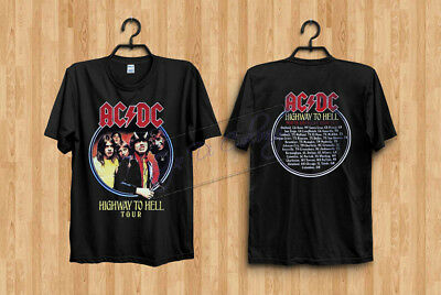 RARE New AC DC Highway to Hell 1979 Tour Mens Vintage Classic T-Shirt Rprnt