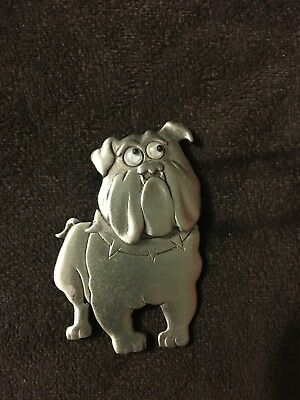 """""""JJ"""" Jonette Jewelry Silver Pewter Large BULLDOG with Moving Head & Eyes"""