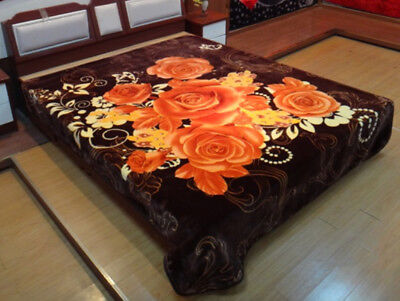 750GSM Queen Size Bed Mink Blanket Throw Rug 200x240cm Soft Thick&Warm Flower 3#
