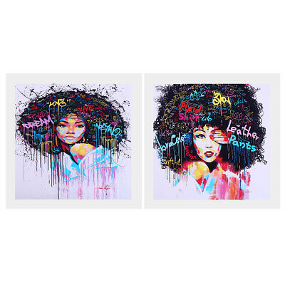 Afro-hair Girl Canvas Oil Painting Wall Art Picture Hanging Poster Decor