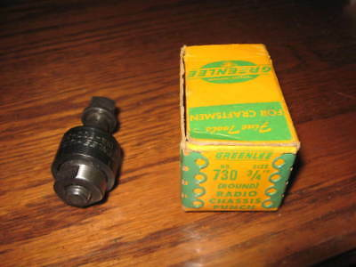 "Greenlee No. 730 Radio Chassis Punch, 3/4"", Original Box, Knockout"