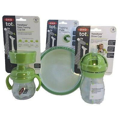 3 Pack Lot OXO Tot Training Plate Sippy Training Cup Transitions Straw Cup Set