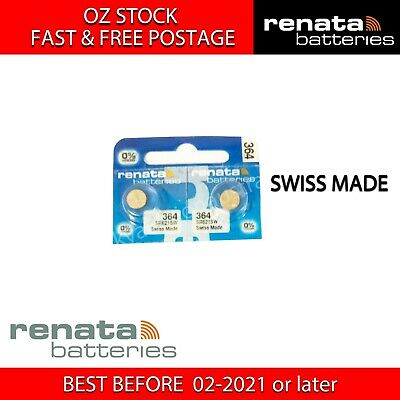 2x RENATA SR621SW 364 1.55v Button Coin Cell Silver Oxide Battery SWISS MADE