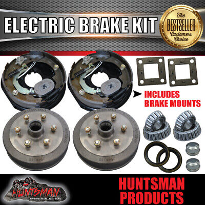 "10"" 6 Stud Trailer Electric Drum Brake Kit & Handbrake. S.G Cast Drums. Caravan"