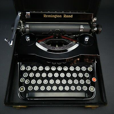"Vintage 1930's Remington Rand ""Model 1"" Typewriter Gloss Black w/ Original Case"