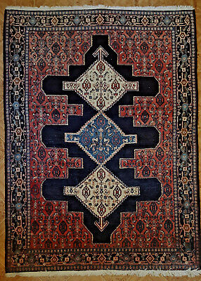 Estate Vintage Hand Knotted Persian Rug, 1.2m x 1.67m Geometric Design Blue Red