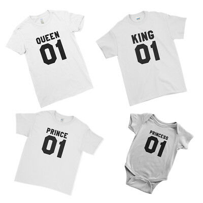 a43f66575 King Queen Prince Princess Kids Baby Matching Family Couple Team T-Shirt