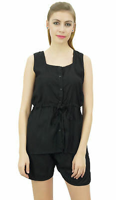 Bimba Women's Drawstring Solid Black Pj Set Buttondown Shirt Shorts Dress