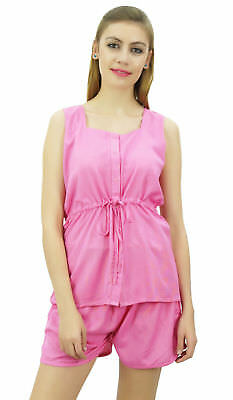 Bimba Women's Drawstring Solid Pink Pj Set Buttondown Shirt Shorts Dress