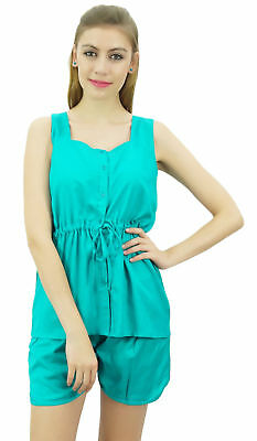 Bimba Women's Drawstring Solid Aqua Pj Set Buttondown Shirt Shorts Dress