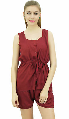 Bimba Women's Drawstring Solid Maroon Pj Set Buttondown Shirt Shorts Dress