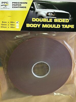 Large Roll PPC Double Sided Body Mould Tape 6mm x 66 Metres. Automotive