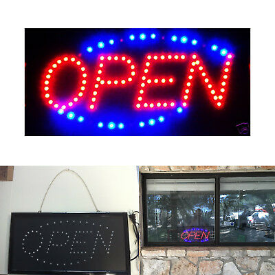 ULTRA BRIGHT LED Neon Light OVAL OPEN w/ Motion Animation ON/OFF