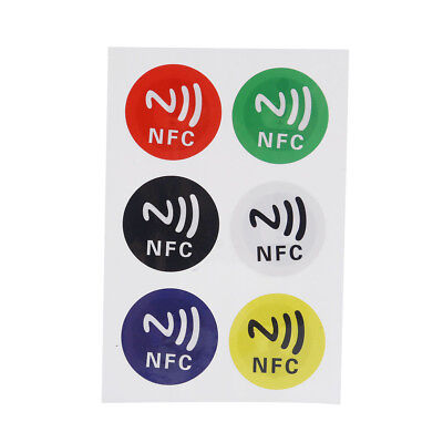 6Pcs/Sheet Ntag213 NFC Smart Tag Stickers Adhesive Label for Android Phones