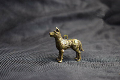 Chinese Hand Carved Pure Brass Nongovernmental Dog Small Pendant Statue