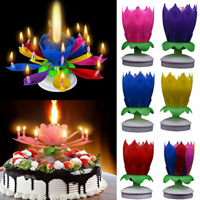 Creative Cake Topper Card Lotus Musical Rotating Candle Happy Birthday Decor 1PC