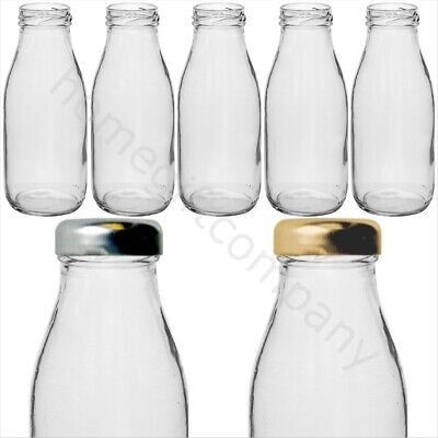 250ml Mini Glass Milk Bottles With Gold Silver Lid 2/4/6/10/12/16/20 Party Pack