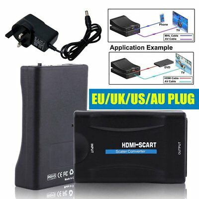 Scart To HDMI MHL Converter Audio Video Adapter For 1080P HDTV Sky Box STB GP