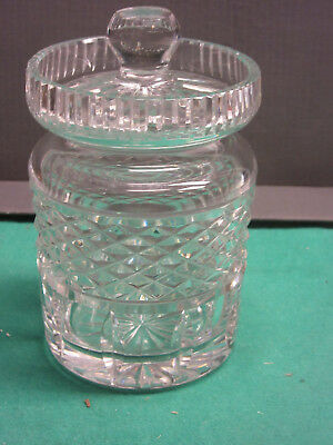 "Antique crystal mustard jar 4""to lip, 3""D., 5""tall excellent condition"