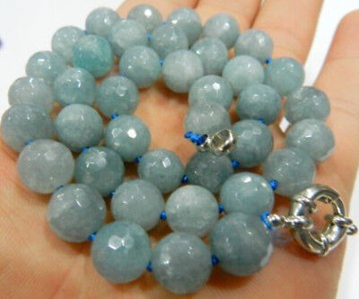 "New Natural 10 mm Faceted Round Aquamarine Beads Necklac 18"" AAA"