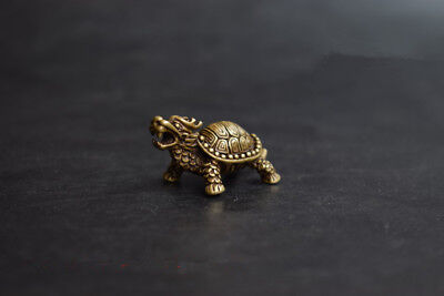 Chinese Hand Carved Pastoral Style Brass Dragon Turtle Small Statue Ornament