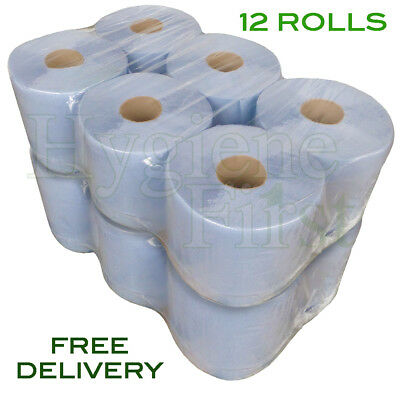12 Rolls Of Blue 2 Ply Centrefeed Embossed Disposable Paper Hand Towels