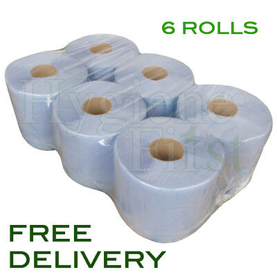 6 Rolls Of Blue 2 Ply Centrefeed Embossed Disposable Paper Hand Towels