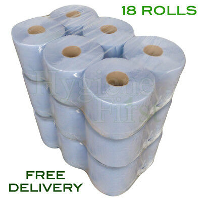 18 Rolls Of Blue 2 Ply Centrefeed Embossed Disposable Paper Hand Towels