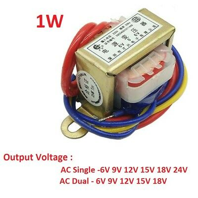 EI28 1W Power Transformer 220V TO 6V/9V/12V/15V/18V/24V Output AC Single/Dual