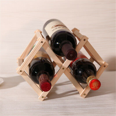 Red Wine Wooden Rack Bottle Mount Holder Kitchen Exhibition Organizer AULJ