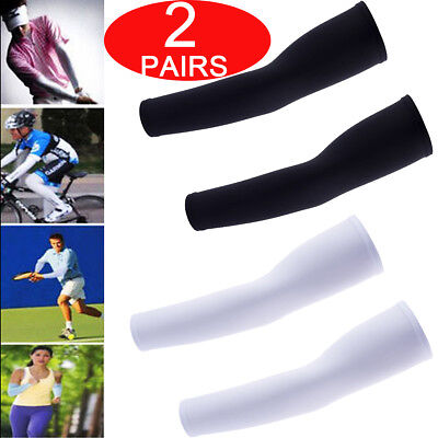 2 Pairs Cooling Arm Sleeves UV Protection Compression Sun Sleeves for Men Women
