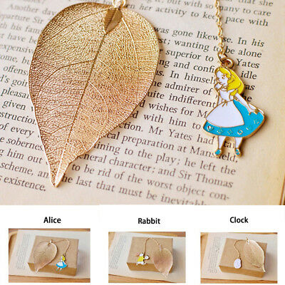 Gold Metal Leaf Bookmark+Alice Pendant Book Marker Reading Stationery Office