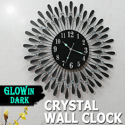 Large Modern 3D Crystal Wall Clock Luxury Round Dial Black Drops Home Office