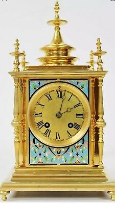 Rare Antique 19thC French 8 Day Bronze Ormolu & Champleve Enamel Mantel Clock