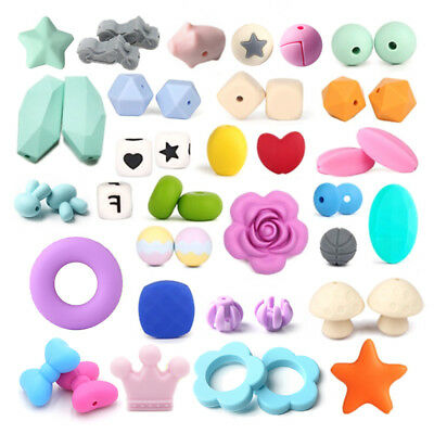 Cube Round Hexagon Silicone Teething Beads DIY Baby Chewable Sensory Toy Jewelry