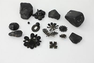 Lot of Vintage Raw Jet Pieces & Mourning Jewellery inc Whitby Jet SPARES 130g