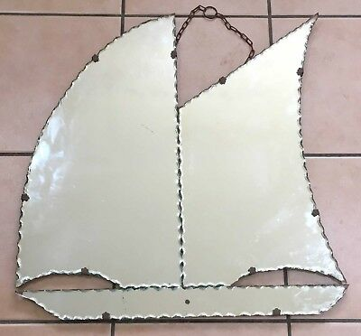 Vintage Sail Boat/sailboat Hanging Wall Mirror, Scalloped Edge/pie Crust, Gc!
