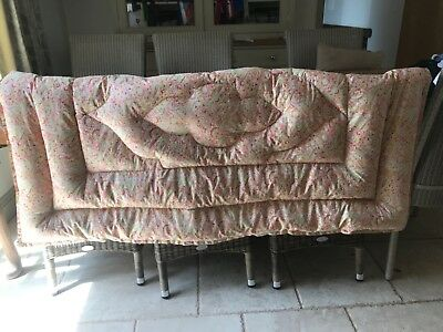 Vintage SINGLE Double Sided Feather Eiderdown Pink + Green Paisley Good Cond