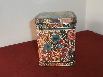 Vtg Chinese Flower Made in England Tin Container
