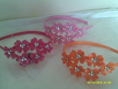 plastic headbands in 3 colours flowers with clear stones job lot set of 3