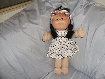 Gorgeous Asian Cabbage Patch Doll With Pink And Black Cornsilk Hair