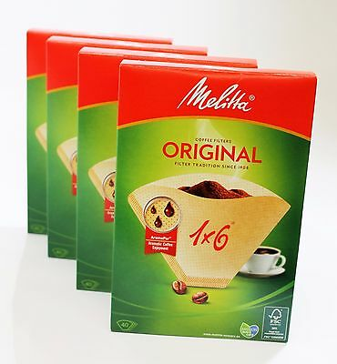 160 Genuine Melitta 1x6 Coffee Machine Paper Filters MEL6761343X4  4 boxes of 40