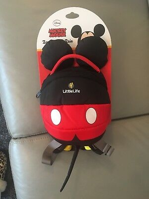 Littlelife Mickey Mouse Toddler Backpack With Reins New