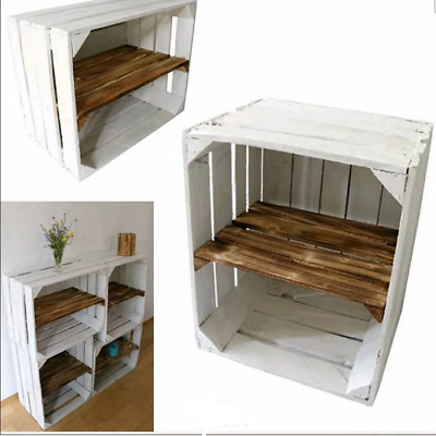 1 X White Painted Apple Crate With Smoked Wood Shelf, Shoe Rack Organiser Shelf