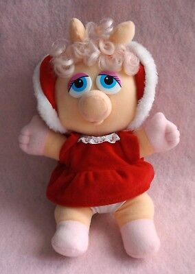 Vintage 80's 1987 McDonalds Muppet Babies Miss Piggy Xmas Plush Stuffed Animal